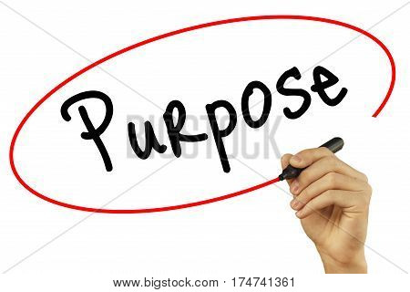 Man Hand Writing Purpose With Black Marker On Visual Screen. Isolated On Background. Business, Techn