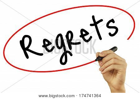 Man Hand Writing Regrets With Black Marker On Visual Screen. Isolated On Background. Business, Techn