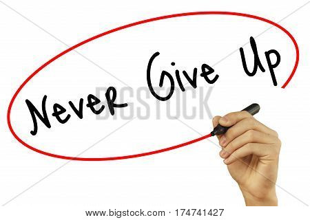Man Hand Writing Never Give Up With Black Marker On Visual Screen. Isolated On White Background. Bus