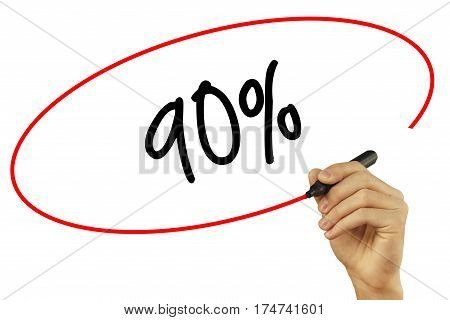 Man Hand Writing 90% With Black Marker On Visual Screen. Isolated On Background. Business, Technolog
