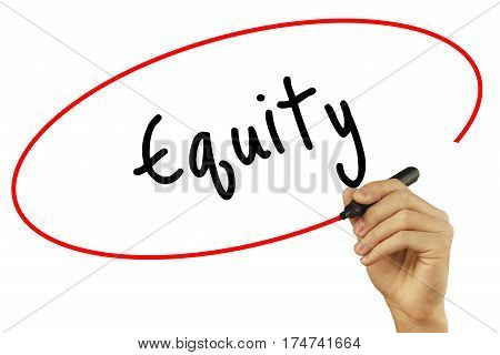 Man Hand Writing Equity With Black Marker On Visual Screen. Isolated On Background. Business, Techno