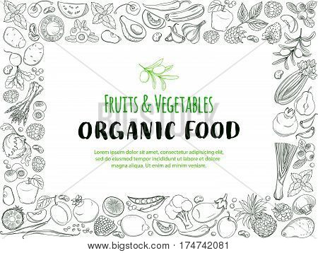 Rectangle Frame border pattern of groceries organic farm fresh fruits and vegetables. Vector illustration frame. Outline line flat style design. White backdrop.