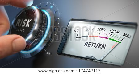 Man turning risk selector button to the medium position. Investment and financial concept. Composite image between a hand photography and a 3D background.