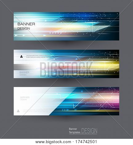 Abstract banners set with image of circuit board, speed movement pattern and motion blur over dark blue color. Science, futuristic, energy technology concept. Vector background for web banner, template or brochure