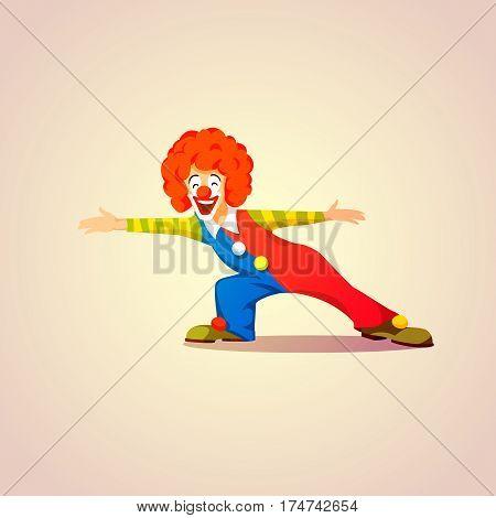 Cheerful cartoon Clown, someone meeting. vector illustration
