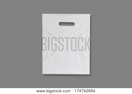 Blank Plastic Bag Mock Up Isolated. Empty White Polyethylene Package Mockup. Consumer Pack Ready For