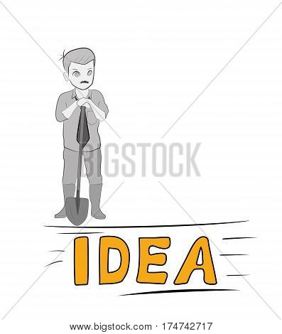 a man with a shovel is about to dig the idea. the concept of work on the idea. vector illustration.