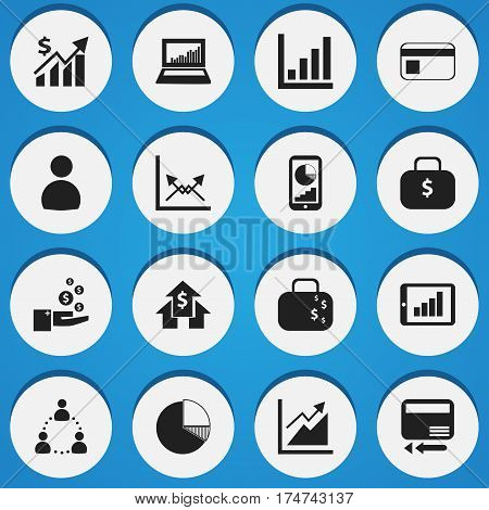 Set Of 16 Editable Statistic Icons. Includes Symbols Such As Phone Statistics, Transmission, Banking House And More. Can Be Used For Web, Mobile, UI And Infographic Design.
