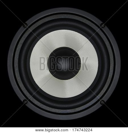 White speaker isolated on black background, close up