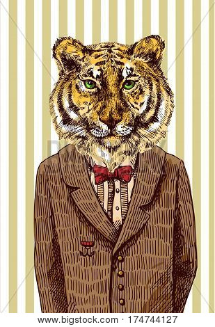 Tiger in jacket. Vector illustration for greeting card, poster, or print on clothes. Fashion Style drawing. Hipster.
