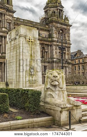 The Cenotaph war memorial in front of the City Chambers in George Square Glasgow Scotland