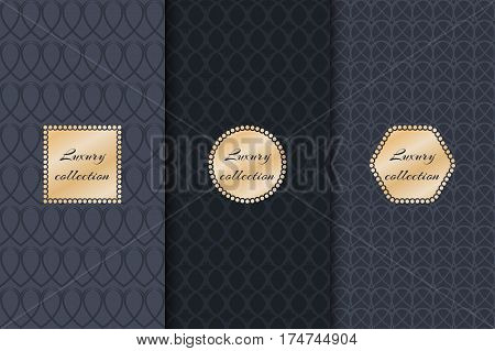 Collection of backgrounds for design of packaging and luxury products with gold foil. Geometric pattern vector.
