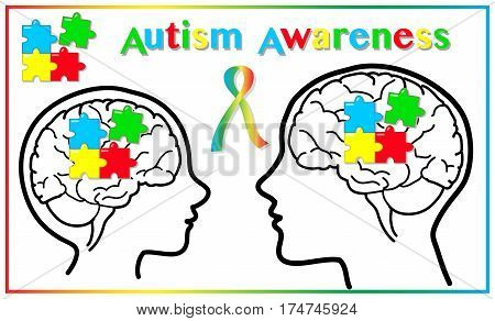Autism awareness child and adult graphic elements