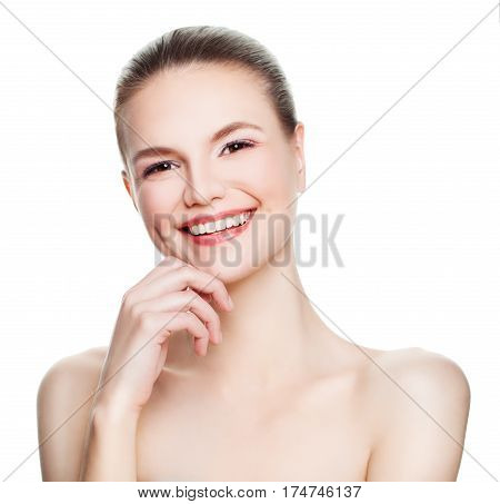 Smiling Spa Model Woman Looking Up Isolated on White Background. Spa Beauty Facial Treatment and Cosmetology Concept
