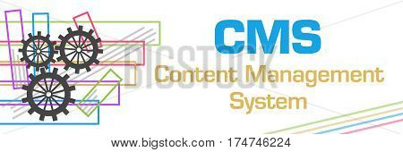 CMS - Content Management System text written over colorful  cog wheel background.