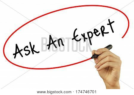 Man Hand Writing Ask An Expert With Black Marker On Visual Screen. Isolated On Background. Business,