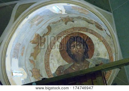 Velikiy Novgorod Russia - July 16 2016: The mural of the famous icon painter Theophanes the Greek Christ Pantocrator located in the church of the Transfiguration. The painting made in 1378.
