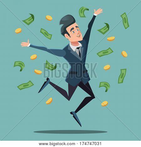 Happy Businessman Jumping Under Money Rain. Business Success. Vector illustration