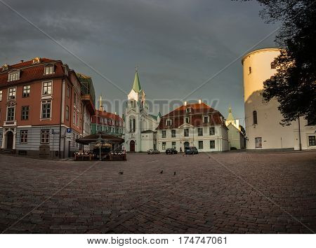 Architecture Of Old Riga Early In The Morning