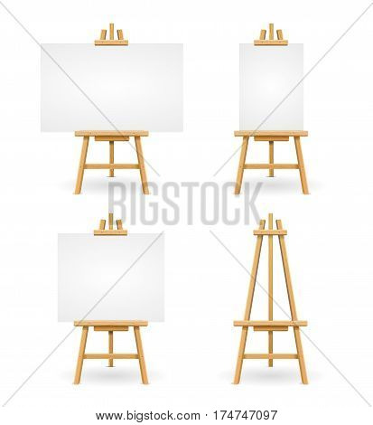 Template Empty Wooden Easel or Painter Desk Set with Blank Space for Web Design. Vector illustration