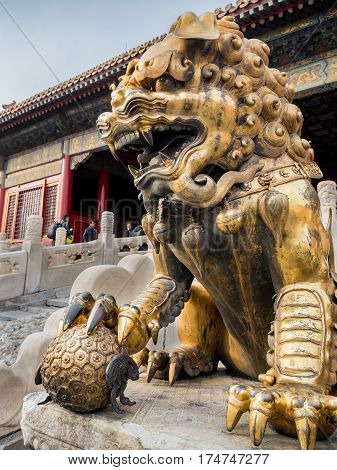 Beijing, China - Oct 30, 2016: Gilded bronze lion with right paw on globe at the Gate of Heavenly Purity, or Celestial Purity (Qianqingmen). Forbidden City (Gu Gong, Palace Museum).
