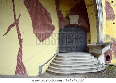 Pushkin Russia - July 15 2016: Entrance to an ancient tower in Catherine Park in Tsarskoe Selo. The Tsarskoye Selo is State Museum-Preserve