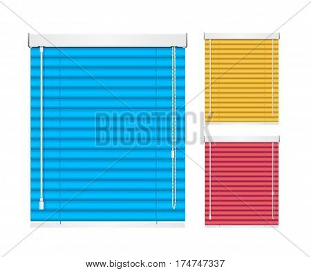 Realistic Color Window Jalousie Roller Shutters Blind Closed View for Home and Office. Vector illustration