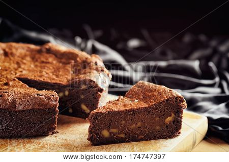 Piece Of Freshly Baked Chocolate Brownie Cake. Sweet Dessert