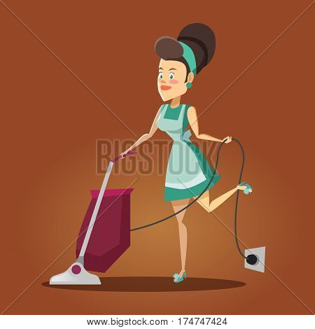 Young Beautiful Housewife Cleaning the House with Vacuum Cleaner. Cleaning Service. Vector illustration