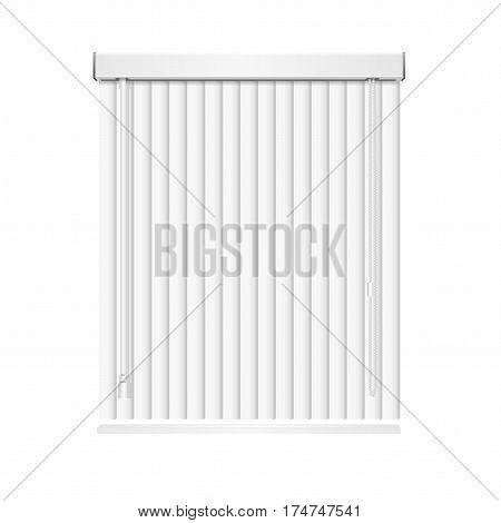 Realistic Blank White Vertical Jalousie Roller Shutters Blind on Window. Vector illustration