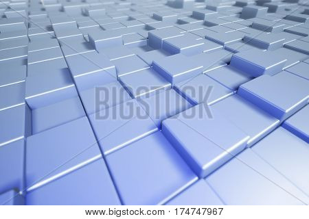 Abstract cubes. Blue background with boxes. 3d cubic background.