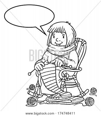 Coloring book of funny smiling knitter. Woman, sitting in a rocking chair, knitting a scarf, surrounded by yarn. Profession ABC series. Children vector illustration. With balloon for text