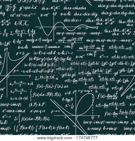 Vector mathematics seamless pattern with different signs, figures, formulas and graphs of functions. Math green chalkboard background