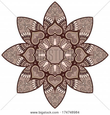 Colored decoration in mandala form. Mehndi style. Decorative pattern in oriental style. Eastern ethnic pattern.