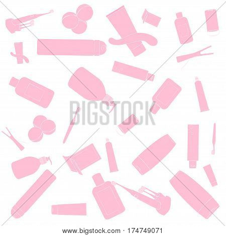 Bath cosmetics pattern. Pink images, white background