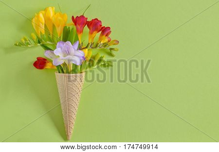 Freesias flowers in ice cream waffles, close up