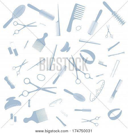 Hairdresser equipment pattern. Pink images, white background Vector