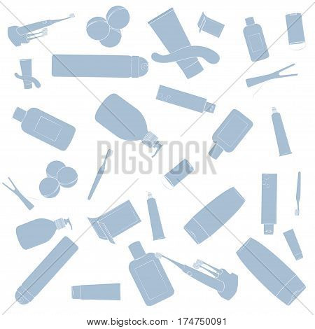 Bath cosmetics pattern. Pink images, white background Vector