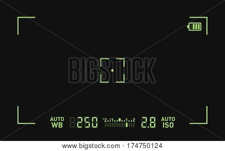 Camera Recording Viewfinder Black Screen. Vector illustration