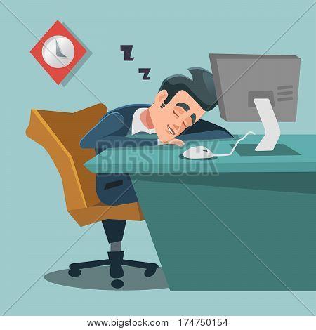 Sleeping Businessman. Tired Business Man at Work. Vector illustration