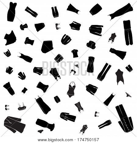 Woman clothes illustrations pattern. Black images, white background. Vector