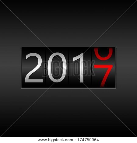 2017 New Year Black Odometer - New Year 2017 Design, Odometer Style With White And Red Numbers.