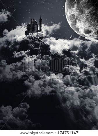 Fantasy Castle On The Hill Against Moonlight sky With Clouds and Fog 3D illustration