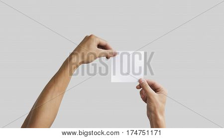 Two Hand Holding Square Paper In The Hand. Leaflet Presentation. Pamphlet Hand Man. Man Show Offset