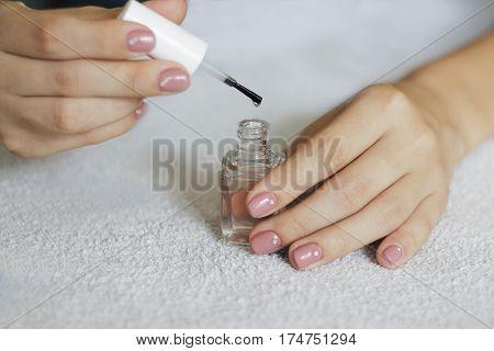 Manicure. Beauty Treatment Photo Of Nice Manicured Woman Fingernails.
