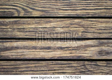 Shabby wood planks closeup. Rough lumber surface. Warm brown wooden background for vintage card. Timber texture closeup. Wooden board wallpaper or backdrop photo. Natural material banner template