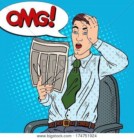Pop Art Surprised Man Reading Newspaper and Grabbed His Head. Bad News. Vector illustration