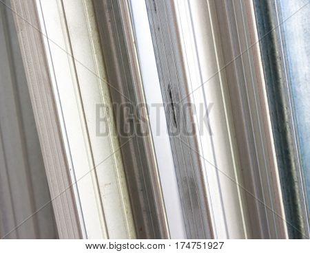 Metal drywall profiles. Close up, mock up