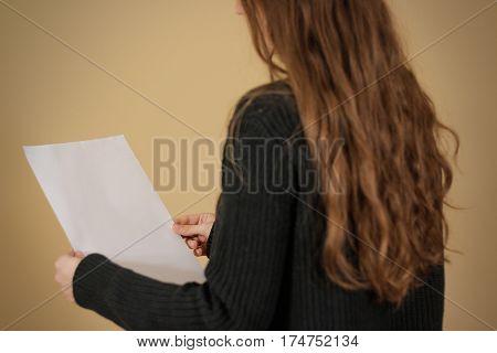 Girl Reading Blank White A4 Flyer Brochure Booklet. Leaflet Presentation. Pamphlet Hold Hands. Woman