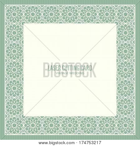 DIY laser cutting vector card. Wedding die cut invitation template. Cutout silhouette stencil. Scrapbook carved paperwork.